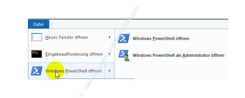 Die neuen Funktionen des neuen Windows 10 Explorers – Windows PowerShell öffnen