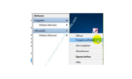 Windows 10 Tutorial: Alle Freigaben anzeigen – Eine Freigabe über das Menü Aktionen aufheben