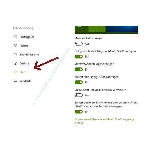 Windows 10 Startmenü-Bereich Meistverwendete Programme konfigurieren – Das Untermenü Start im Menü Personalisierung
