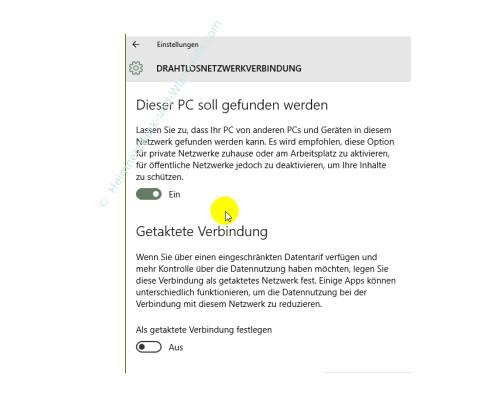 Windows 10 - Die neuen Netzwerkkonfigurationsmenüs – Das Konfigurationsfenster Drahtlosnetzwerkverbindung