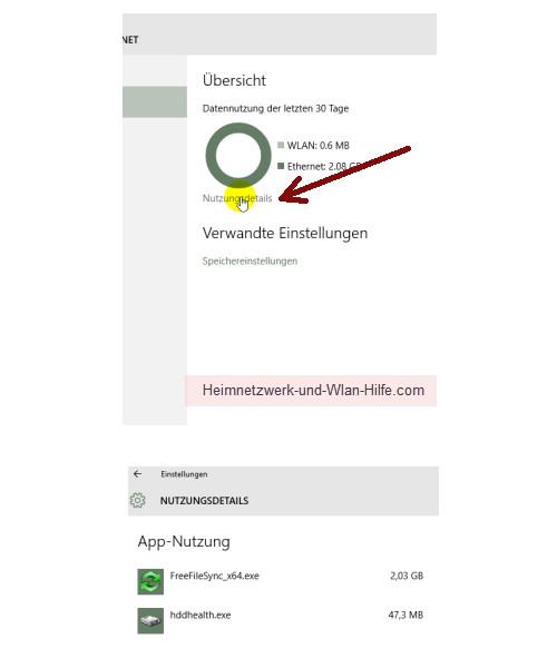 Windows 10 - Die neuen Netzwerkkonfigurationsmenüs – Menü Datennutzung, Nutzungsdetails