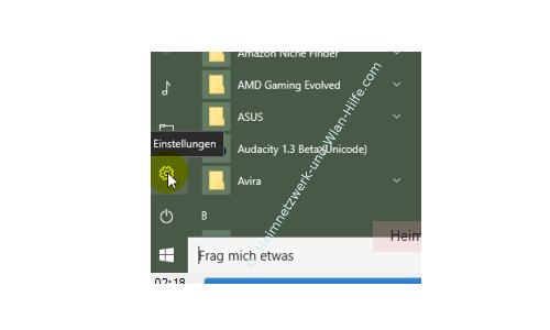 Windows 10 – Netzwerkverkehr und Datenvolumenverbrauch von Apps herausfinden – Das neue Einstellungen Konfigurationsfenster über das Startmenü öffnen