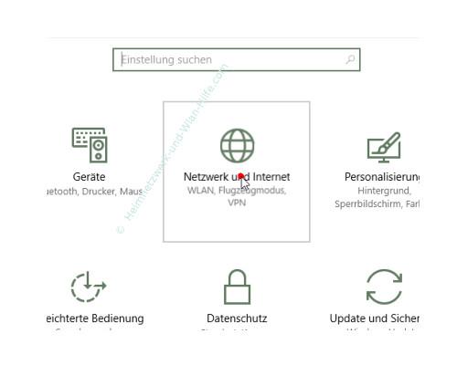 Windows 10 – Netzwerkverkehr und Datenvolumenverbrauch von Apps herausfinden – Das Menü Netzwerk und Internet im Einstellungen Fenster