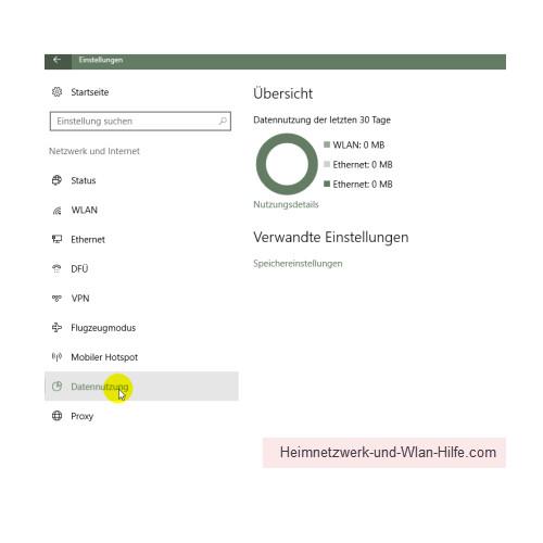 Windows 10 – Netzwerkverkehr und Datenvolumenverbrauch von Apps herausfinden – Das Untermenü Datennutzung im Menü Netzwerk und Internet