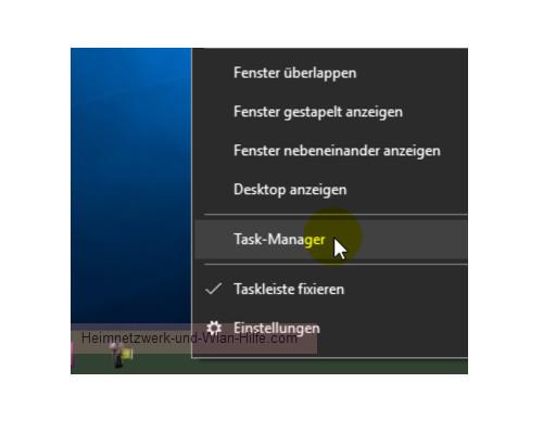 Windows 10 – Netzwerkverkehr und Datenvolumenverbrauch von Apps herausfinden – Den Task-Manager über das Kontextmenü der Task-Leiste öffnen