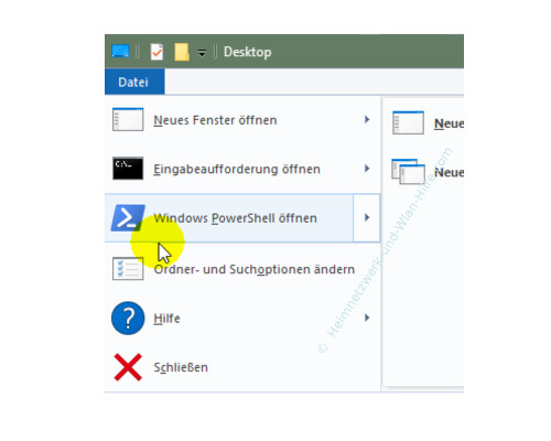 Die Windows 10 Standard-Kommandozeile durch die Power Shell ersetzen – Der Menüaufruf Windows PowerShell im Windows-Explorer