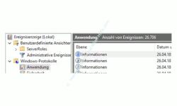 Windows 10 Ereignisanzeige – Anzeige von Ereignisinformationen im Protokoll Anwendung