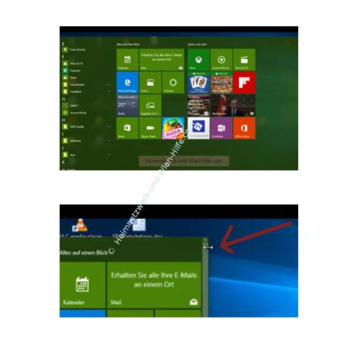 Windows 10 - Wichtige erste Anlaufstellen – Das Startmenüfenster vergrößern