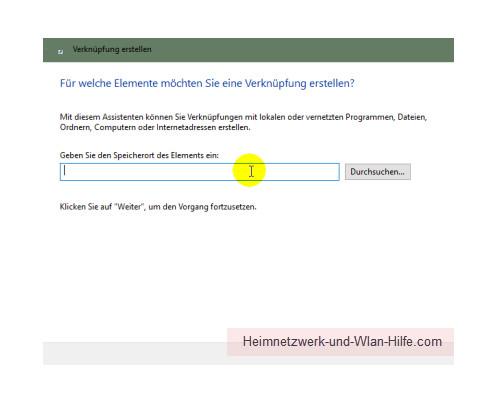 Windows 10 Tutorial - Systemfunktionen über Systemkennungen im Startmenü einbinden – Das Konfigurationsfenster Verknüpfung erstellen