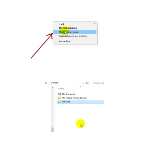 Windows 10 Tutorial - Systemfunktionen über Systemkennungen im Startmenü einbinden – Unsere Verknüpfung über den Kontexte Menübefehl verschieben in den Sammelordner verschieben