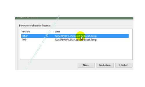 Windows 10 - Temporäre Dateien finden und entfernen – Anzeige der Umgebungsvariablen