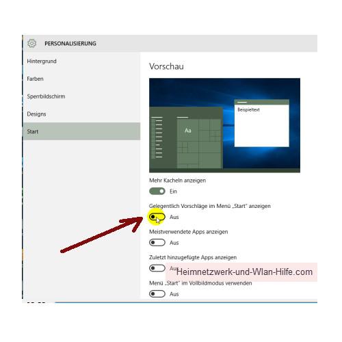 Nervige Werbe-Apps aus dem Windows 10 Startmenü entfernen – Die Option Gelegentliche Vorschläge im Menü Start anzeigen