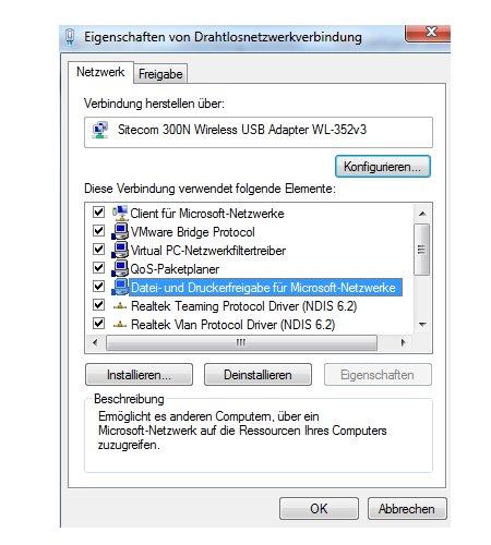 Windows Netzwerk Anleitungen und Tutorials: Auf Windows 7 Ordner und Dateien gemeinsam zugreifen - Eigenschaften der Netzwerkverbindung - Datei- und Druckerfreigabe