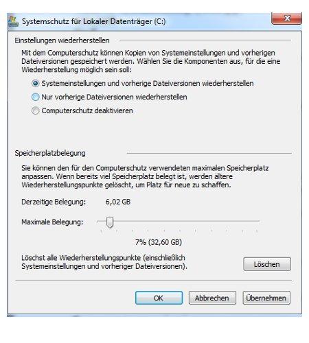 Windows 7 System über einen Systemwiederherstellungspunkt reparieren - Einstellungen, Systemschutz konfigurieren