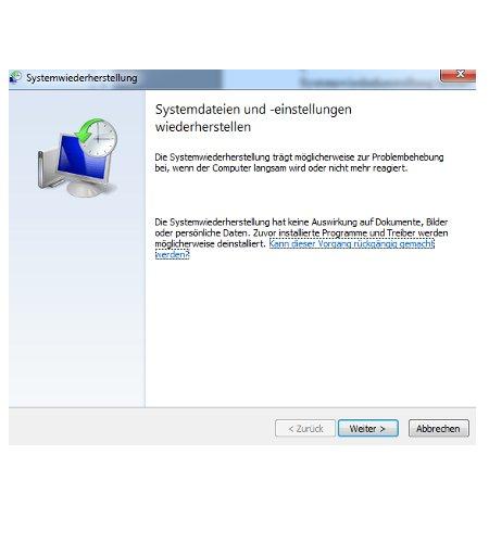 Windows 7 System über einen Systemwiederherstellungspunkt reparieren - Die Systemwiederherstellung wird gestartet
