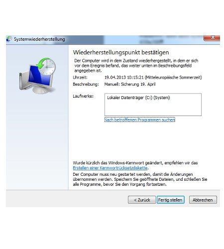 Windows 7 System über einen Systemwiederherstellungspunkt reparieren - Systemwiederherstellungspunkt wählen