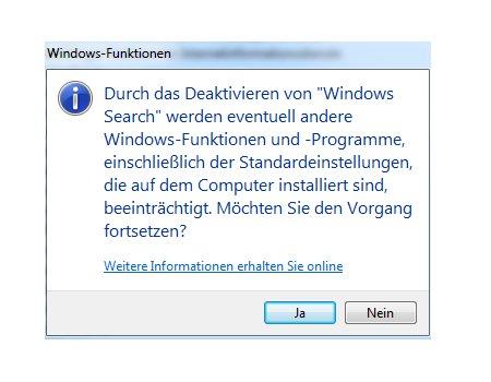 Die Windows 7 Suche deaktivieren und aktivieren - Warnmeldung Windows Search abschalten