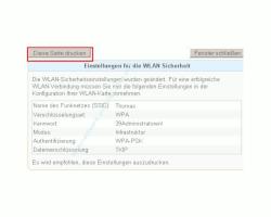 Netzwerk Tutorial: Die WLAN-Konfiguration eines Fritzbox Wlan-Routers ausdrucken! - Fritzbox Konfigurationsmenü - Druckdialog zum Ausdrucken der WLAN-Konfiguration