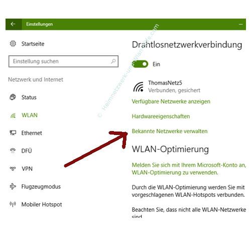 Probleme im Wlan-Netzwerk erkennen und beheben – Bekannte Netzwerke verwalten