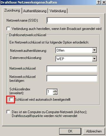Wlan-Netzwerk Anleitungen: Wlan-Netzwerkkarte konfigurieren! Fenster Drahtlose Netzwerkeigenschaften - Option Automatischen Schlüssel deaktivieren