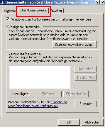 Netzwerk-Tutorial: Wlan-Netzwerkadapter einrichten und konfigurieren! Fenster Wlan-Adapter Eigenschaften - Register Drahtlosnetzwerke