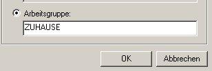 Windows XP Gerätemanager - Arbeitsgruppenname ändern -  Neuen Namen für die Arbeitsgruppe eingeben