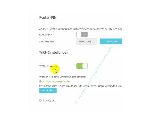 TP-Link Archer VR900v – Die WPS-Einstellungen im Konfigurationsmenü