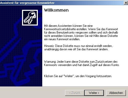 Netzwerk-Anleitung: Windows-Passwort auf Passwortrücksetzungsdiskette sichern! Willkommens-Fenster Assistent Erstellung der Passwortrücksetzungsdiskette