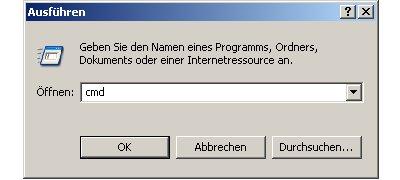 Problem im Netzwerk: Keine Netzwerkverbindung - Netzwerkverbindung mit Ping testen  -  Ausführen Cmd