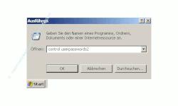 Anleitung: Automatische Benutzeranmeldung deaktivieren - Eingabe von control userpasswords2 in das Eingabefeld