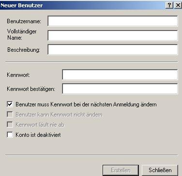 Anleitung: Benutzerkonto einrichten unter Windows XP Vista - Computerverwaltung - Konfigurationsfenser Neuer Benutzer