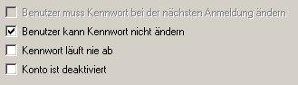 Anleitung: Benutzerkonto einrichten unter Windows XP Vista - Computerverwaltung - Benutzer kann Kennwort nicht ändern