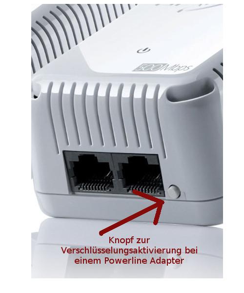 Netzwerk Anleitungen und Tutorials: Kabelnetzwerk und Powerline kombinieren - Datenübertragung Verschlüsselungsknopf bei einem Powerline Adapter