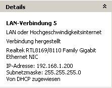 Netzwerkanleitung IP-Adresse finden und anzeigen lassen - Fenster Netzwerkverbindungen - Bereich Details der Netzwerkverbindung