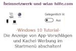 Windows 10 Tutorial - Die Anzeige von App-Vorschlägen und Kachel-Werbung im Startmenü abschalten!