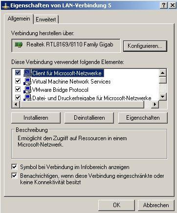 Netzwerk-Tutorial: Netzwerksymbol in der Taskleiste anzeigen - Fenster Eigenschaften einer Netzwerkverbindung