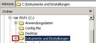 Windows Explorer - Benutzerkonto / Benutzerkonten Profilordner anzeigen  - Ordnerstruktur Dokumente und Einstellungen  öffnen