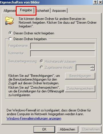 Netzwerk-Tutorial: Einen Windows Ordner freigeben und Ordnerzugriff erlauben! Konfigurationsfenster Konfigurationsdialog Ordnerfreigabe