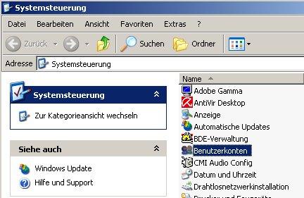 Netzwerk-Anleitung: Windows-Passwort auf Passwortrücksetzungsdiskette sichern! Fenster Systemsteuerung Modul Benutzerkonten markieren und doppelklicken