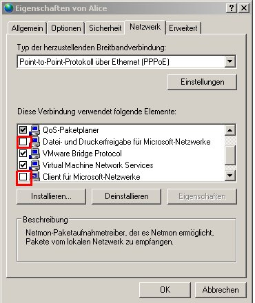 Internet Connection Sharing  (ICS)- Host Computer einrichten - Fenster Eigenschaften Internetverbindung