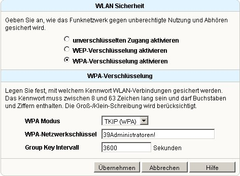 Wlan-Netzwerk Tutorial: WLAN WPA / WEP Verschlüsselung aktivieren oder ändern! Fritzbox Konfigurationsmenü - Menü Einstellungen WLAN Sicherheit Fenster WLAN-Sicherheit