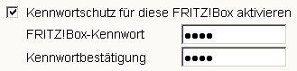 Heimnetzwerk-Tutorial: Wlan-Konfiguration Router-Passwort / Router-Kennwort ändern! Menü System FritzBox Kennwort wählen - Fenster Kennwortschutz - Option: Kennwortschutz für diese FRITZ!Box aktivieren
