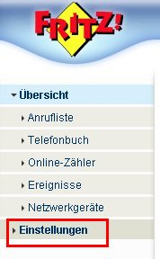 Netzwerk Tutorial: Die WLAN-Konfiguration eines FritzBox Wlan-Routers ausdrucken! FritzBox Konfigurationsmenü - Menü Einstellungen