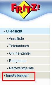 Wlan-Netzwerk Tutorial: Fritzbox Konfigurationsmenü - Menü Einstellungen