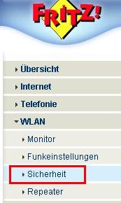 Netzwerk Tutorial: Die WLAN-Konfiguration eines Fritzbox Wlan-Routers ausdrucken! Fritzbox Konfigurationsmenü - Menü Einstellungen WLAN Sicherheit