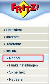 Wlan-Netzwerk Tutorial: Menü Einstellungen WLAN Monitor