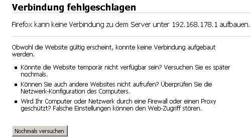Netzwerk-Tutorial: Auf die Router-Konfiguration zugreifen!  Verbindungsfehler: Keine Netzwerkverbindung bei Einwahl in die Router-Konfiguration