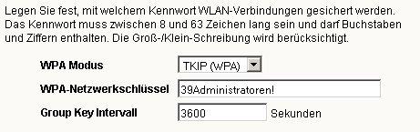 Wlan-Netzwerk Tutorial: WLAN WPA / WEP Verschlüsselung aktivieren oder ändern! Fritzbox Konfigurationsmenü - Menü Einstellungen WLAN Sicherheit Fenster WLAN-Sicherheit Verschlüsselungseinstellungen