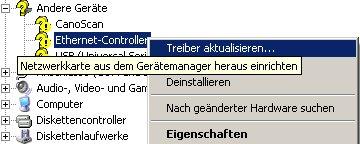 Netzwerk-Tutorial: Windows XP Gerätemanager - Netzwerkkarte installieren und Netzwerkkarteninstallation prüfen - Geräte-Manager - Rubrik Andere Geräte Kontextmenü Auswahl von Treiber aktualisieren