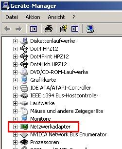 Netzwerk-Tutorial: Windows XP Gerätemanager - Netzwerkkarte installieren und Netzwerkkarteninstallation prüfen - Geräte-Manager - Rubrik Netzwerkadapter geschlossen